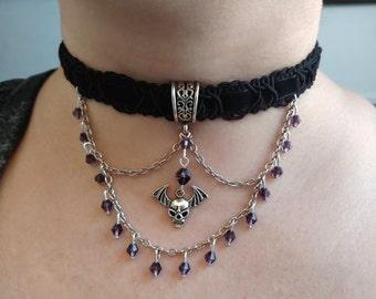 Purple Crystal Skull Choker
