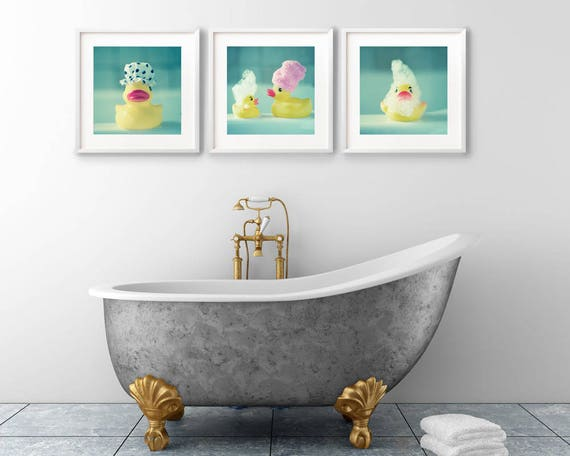 Aqua Bathroom Prints, Bathroom Wall Art Pictures, Kidu0027s Bathroom Art, Set  Of 3 Prints, Square Print Set, Rubber Ducks, Aqua Print Set