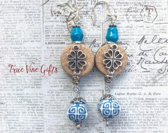 Wine Cork Earrings with Blue and White beads