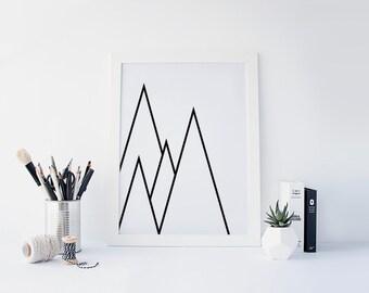 Geometric Triangle Art, Geometric Print, Triangle Print, Black and White, Black and White Triangle, Geometric Triangle, Minimalist Print