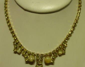 I3 Vintage Gold Toned w/Yellow Green Rhinestones Pendant Necklace.