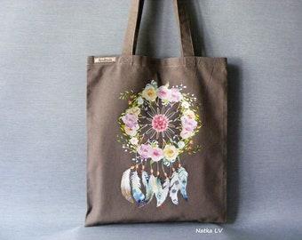 Linen tote bag, brown bag with dream catcher, shopping bag, summer bag, grocery bag, canvas bag, market bag, beach bag, eco bag, handmade