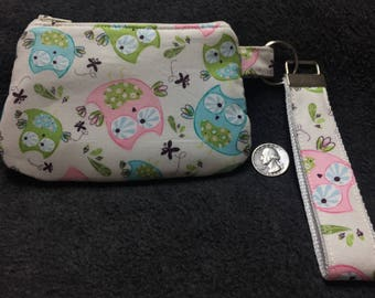 Coin Purse with Removable Strap - Cute Owls
