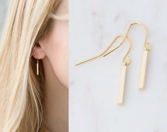 Tiny Bar Earrings, Gold Bar Earrings, Silver Bar Drop Earrings, Dangle Earrings, Dainty Bar Earrings, Wedding Jewelry, Gift for Women Her