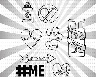 Not Today, Cupid! Digital Stamp Set