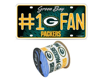 "2.5"" NFL Green Bay Packers Ribbon, 9 feet & #1 Fan Metal License Plate, Licensed NFL Offray Ribbon"