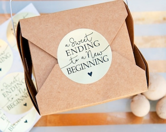 Sweet Ending Wedding Favor Stickers - Wedding Cake, Shower Favors - Gold Foil Sticker Pack - 20 Stickers