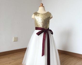Floor-length Light Gold Sequin Ivory Tulle Flower Girl Dress 2017 with Burgundy Sash