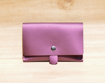 Leather Passport Wallet, Passport Cover, Leather Passport Holder for her, Leather Passport Case in Pink /Purple Color