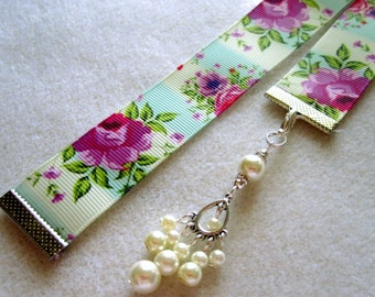 Lavender Rose Grosgrain Ribbon Bookmark w/Chandelier Charm