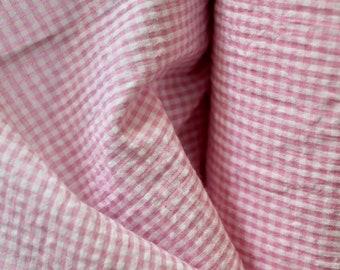 2 m piece seersucker cotton fabric check print rose