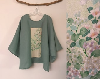 oversized willow green linen top with vintage kimono panel ready to wear / kimono linen top / Japanese kimono / plus size linen top / shirt