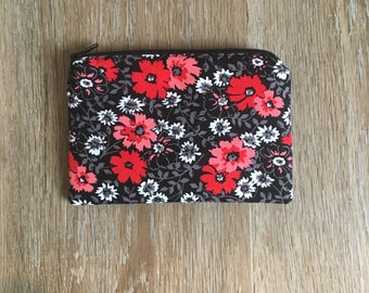 Red Floral • Zippered Pouches - Small