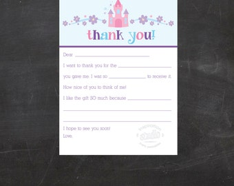 Kids Princess Printable Fill-In the Blanks Thank you Notes {Instant Download}