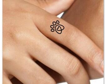 Temporary Tattoo 4 Paw Heart Finger Fake Tattoos Waterproof Thin Durable Fake