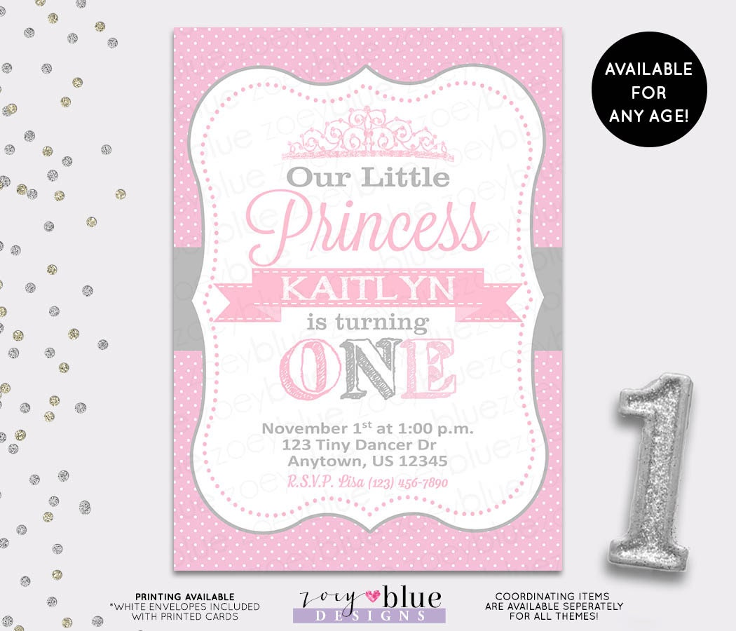 Princess Birthday Invitation Grey Pink White Polka Dots Gray
