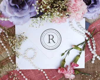 Return Address Stamp, Custom Personalized Stamper, Rubber Wood Mount Clear Block Stamp, Round Monogram Stamp, Self Inking, Ink Pad --2615