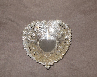 Ornate Gorham Sterling Silver heart tray for the vanity