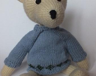 teddy bear Augustus the bigger in blue jumper