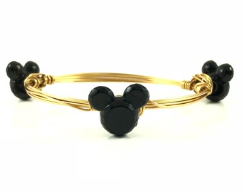 Mini Mouse Head Wire Wrapped Bangles - Wire Jewelry - Gemstone Bracelet - Mother's Day Gift - Stacking Bracelets - Courtney And Courtnie