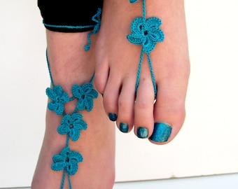 Crochet Barefoot Sandals, teal barefoot sandles, foot jewelry, Beach wedding, Bridesmaid gift, Beach, Anklet, Summer shoes, wedding shoes