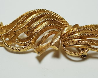 Monet 60's Gold Tone Ribbon Vintage Brooch/MONET Tied Sheaf of Wheat Large Vintage Twist Spray Gold Tone Pin Brooch/Modernist Twisted Rope