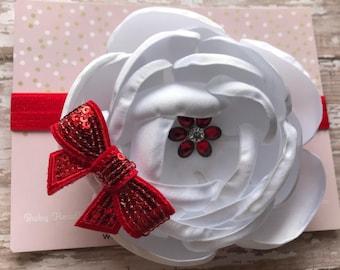 White & Red Christmas Baby Headband Baby Photo Prop White Headband, Newborn Headband,Baby Hair Bows.