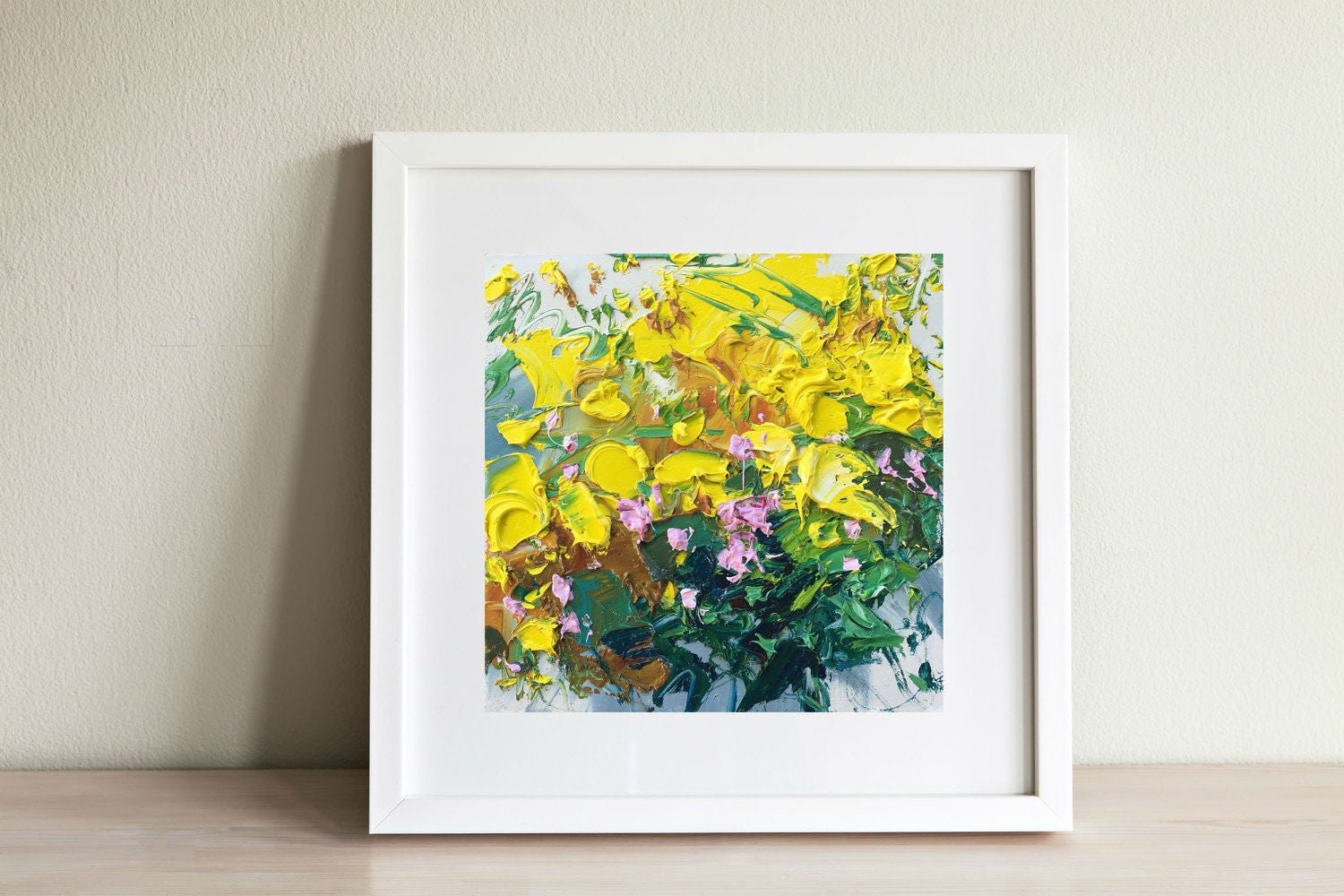 Yellow Flower Painting Oil Painting on Canvas Flowers Art