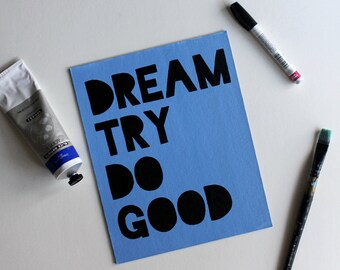 Dream Try Do Good, Boy Meets World, Cory Matthews, Mr Feeny, Topanga, Chubbies, Acrylic Painting, Quote Art, 8x10 Canvas Board NO Frame