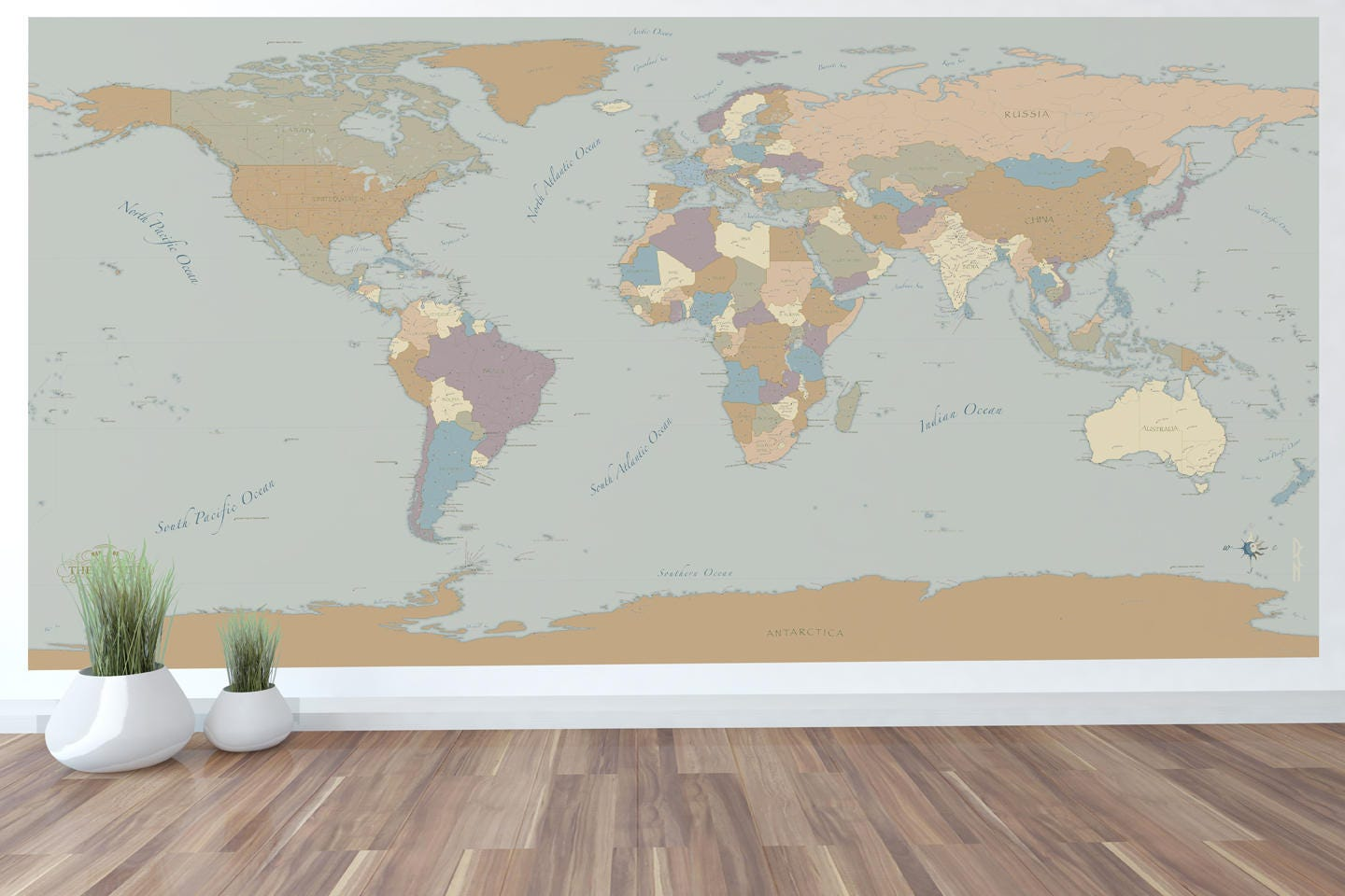 Giant world map mural wall art world map decal 59x30 or 96x48 with giant world map mural wall art world map decal 59x30 or 96x48 with beautiful colors and cities gumiabroncs Gallery