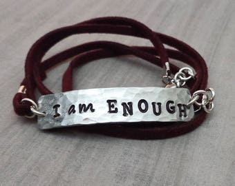 I Am Enough Wrap Bracelet- Mantra Wrap Bracelet- Empowerment Jewelry- Inspire Wrap Bracelet- Gift for Her - Inspirational Her -Enough B78