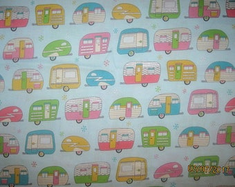 CAMPERS, Cotton Fabric, Fat quarter, 18X21, scrap, remnant, camp, travel, trailer, gray, living simply, aqua, camper fabric, camper fq