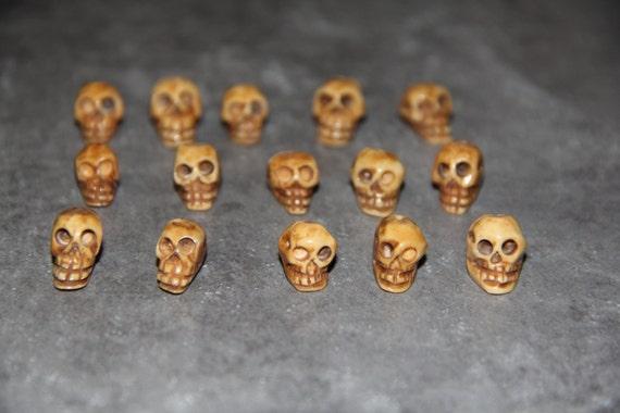 15 pcs Piece Buffalo Bone Carved Skull