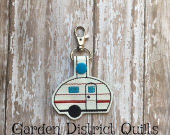 Camper key fob, zipper pull, luggage tag, key chain, backpack charm, etc.
