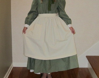 In Stock Size 10-12 or 14 Girls Prairie Apron with a Pocket/Pioneer Apron - Ready to Ship
