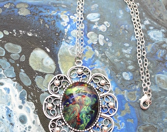 Made with Paint Large Flower Power Pendant in Green, Blue, and Red