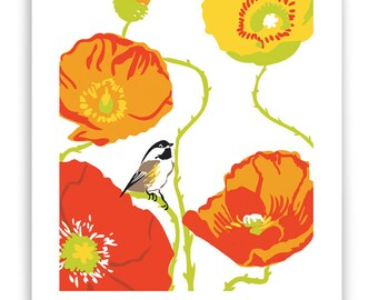 "ART1: Poppies and Chickadee 8"" x 10"" Art Reproduction"