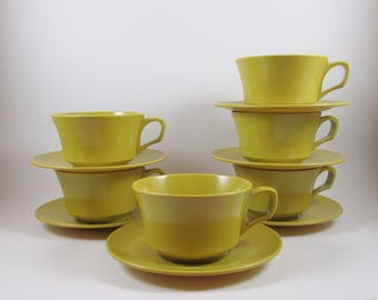 Six Melamine Coffee Cups and Saucers Harvest Gold Vintage Mid Century Tea Cups
