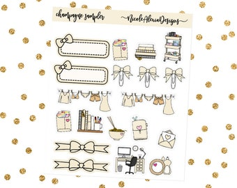 Champagne Sampler, Bow Planner Stickers