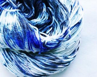 MYST hand dyed yarn super-wash merino wool.  sock fingering yarn white black purple brown yarn speckle yarn