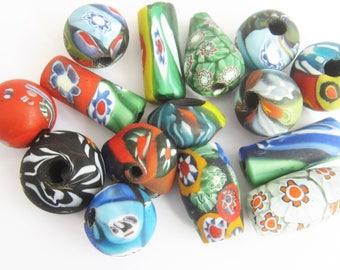 Loose beads. 15 Handmade vintage Venetian glass millefiori beads. 11 mm - 23 mm.