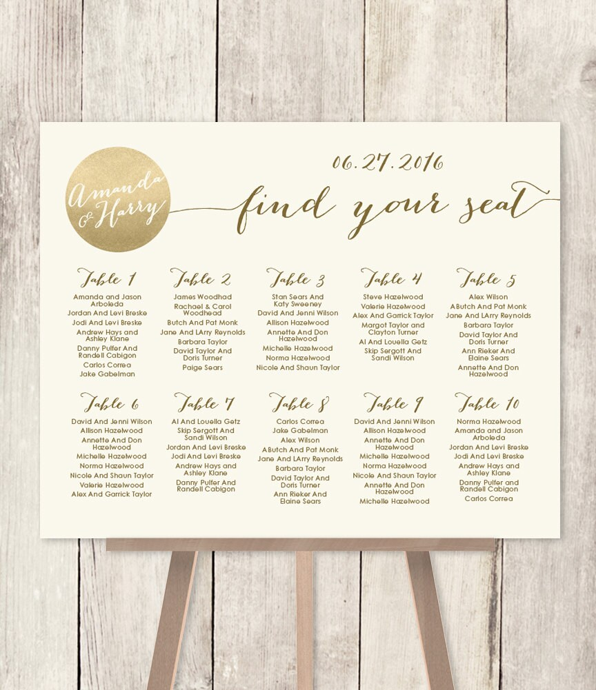 Printable Seating Chart For Wedding Reception: Wedding Seating Chart Sign / Gold Sparkle Wedding Sign