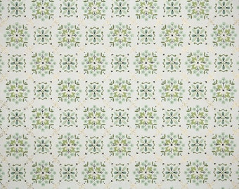 1950's Vintage Wallpaper - Green and Teal Geometric on White