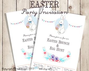 SALE Easter Party Invitation - Printable digital file - Easter Brunch, Easter Egg Hunt