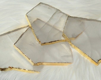 Clear Quartz Coasters with Gold edge, Set of 4