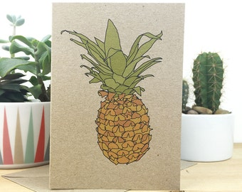 Pineapple printed card , tropical fruit illustration , eco friendly recycled kraft
