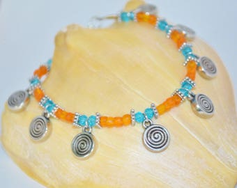 Ankle Bracelet Orange Swirls, Beaded Anklet with Swirl Charms, Blue & Orange anklet, Swirl Anklet, Bright Anklets, Cool Colorful Anklet