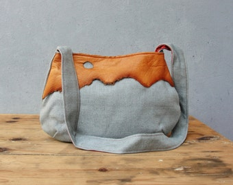 Leather and Linen Bag - Blueberry and Cinnamon