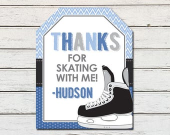 Ice Skates Skating Printable Party Thank You Favor Tag (PDF File only)