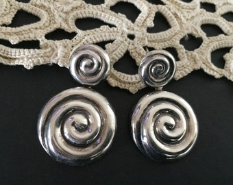 Sterling Silver Earrings, Vintage Drop Earrings